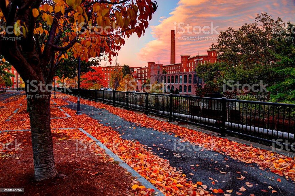 Autumn in Lowell Massachusetts stock photo