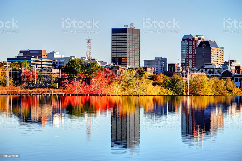 Autumn in Manchester, New Hampshire stock photo