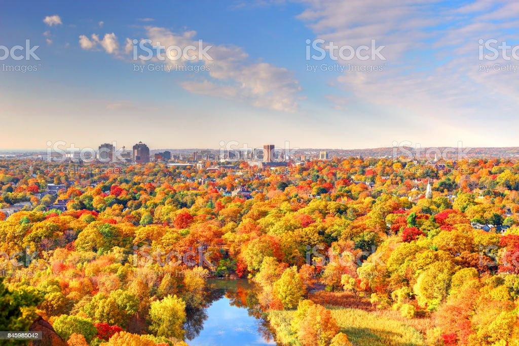Autumn in New Haven stock photo