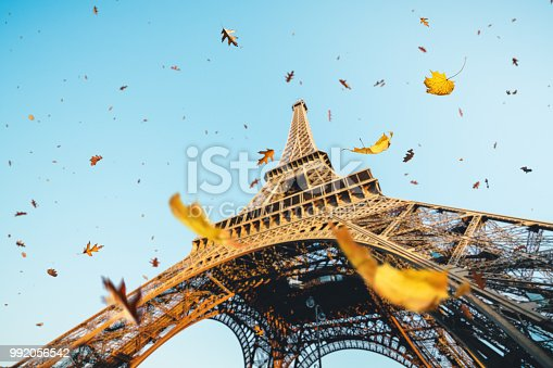 Autumn in Paris. Leaves are falling from the trees near Eiffel tower.