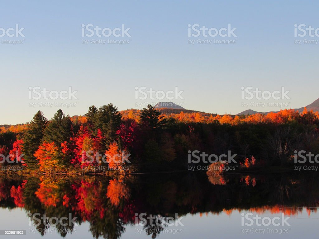 Autumn in peak, Baxter State Park Maine stock photo