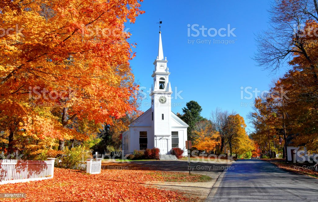 Autumn in Sandwich, New Hampshire stock photo