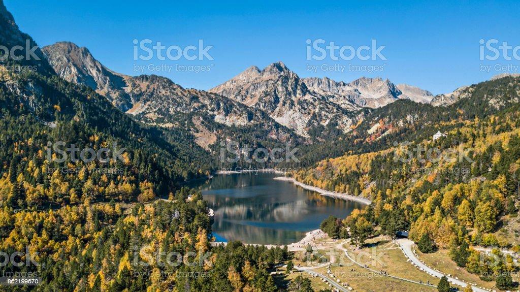 Autumn in Sant Maurici lake, Pyrenees, Catalonia, Spain stock photo