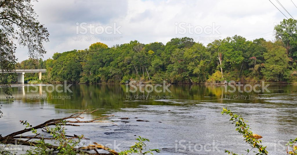 Autumn in South Carolina along the Catawba River. stock photo