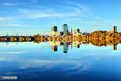 Springfield Massachusetts skyline reflecting on the Connecticut River. Springfield is a city in Western Massachusetts in the Pioneer Valley region. Springfield is nicknamed The City of Firsts, because of its many innovations. Springfield is known for its Museums, Nightlife, and Baskerball Hall of Fame