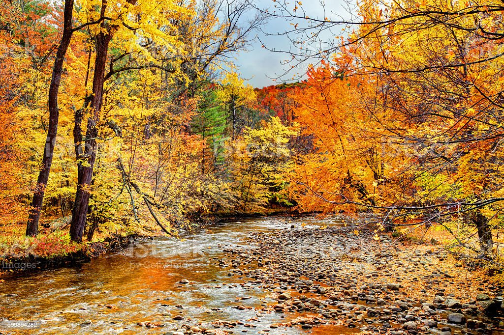 Autumn in the Adirondacks region of New York stock photo
