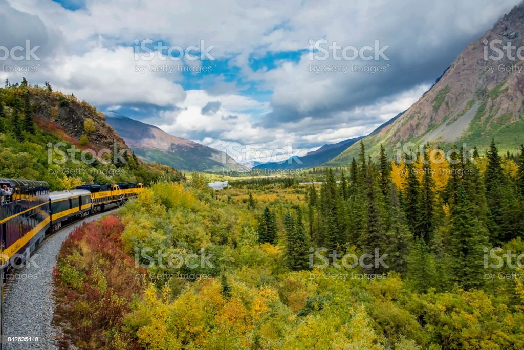 Autumn in the Alaska Range on railroad stock photo