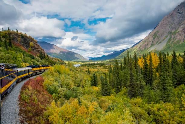 hösten i intervallet alaska på järnvägen - denali national park bildbanksfoton och bilder