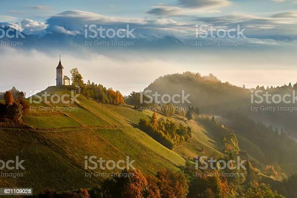 Photo of Autumn in the alps, Slovenia around the village Jamnik, EU