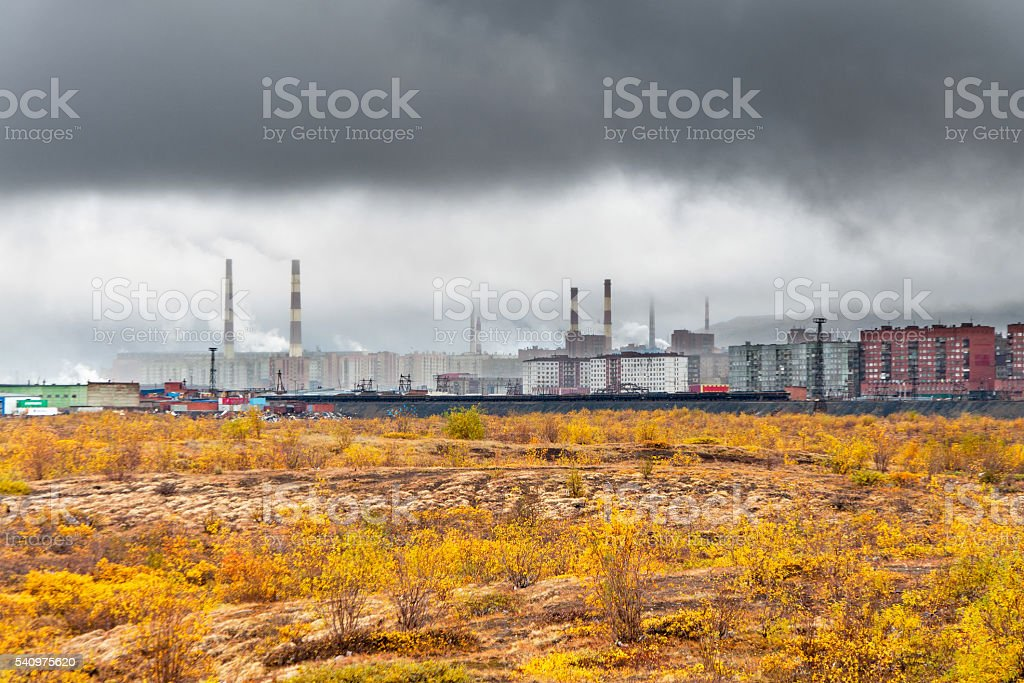 Autumn in the city above the Arctic Circle. stock photo