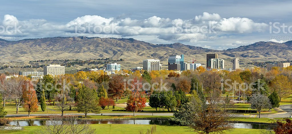 Autumn in the City of trees Boise Idaho stock photo