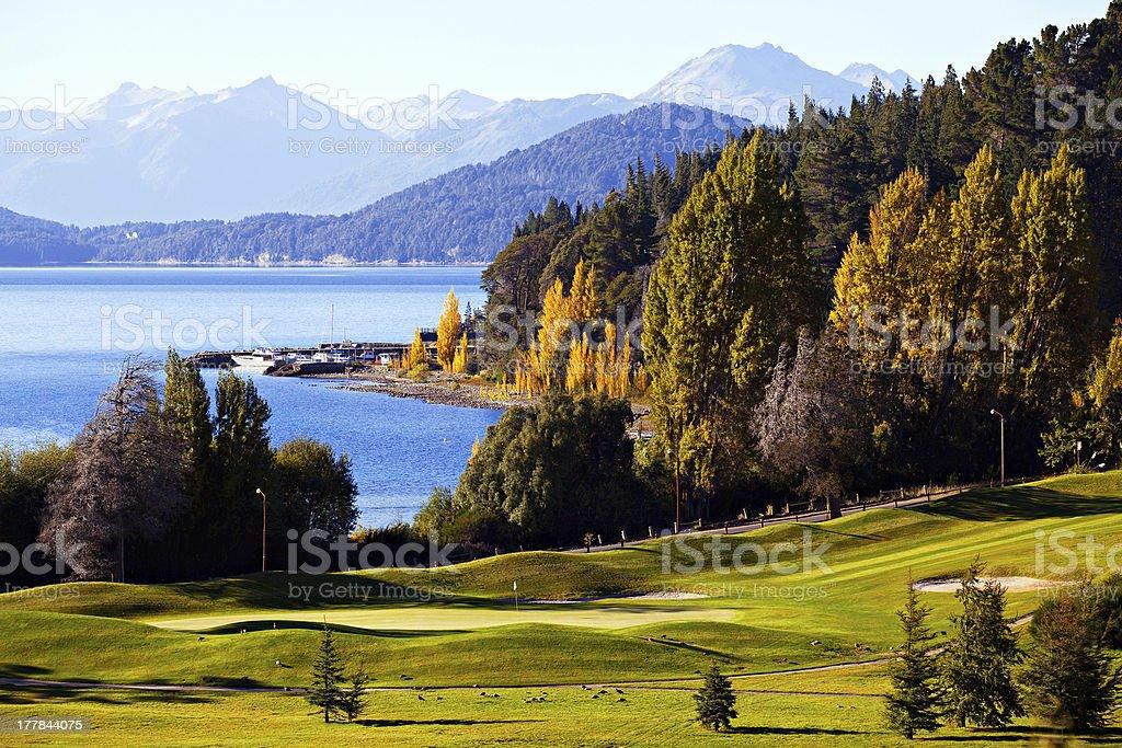 Autumn in the mountains of Patagonia stock photo