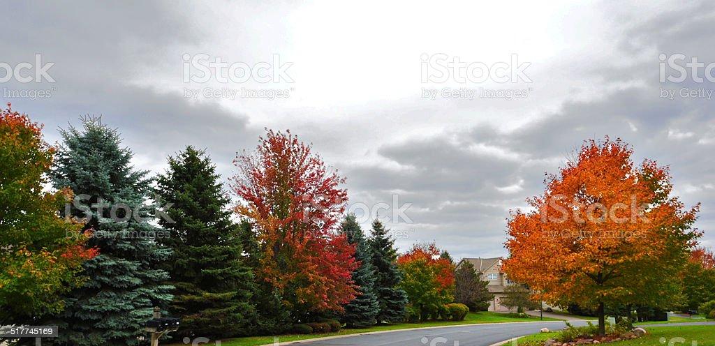 Autumn in the neighborhood stock photo