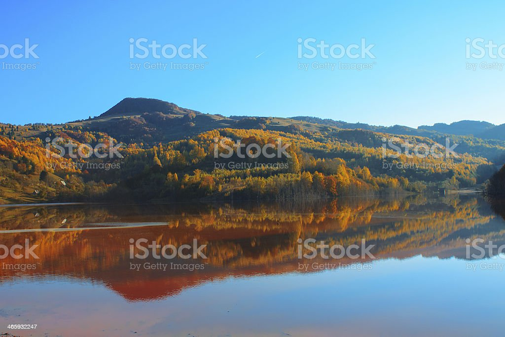 Autumn in the reflective water royalty-free stock photo