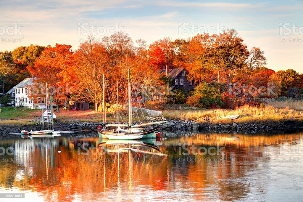 Autumn in the small village of Essex on Cape Ann stock photo