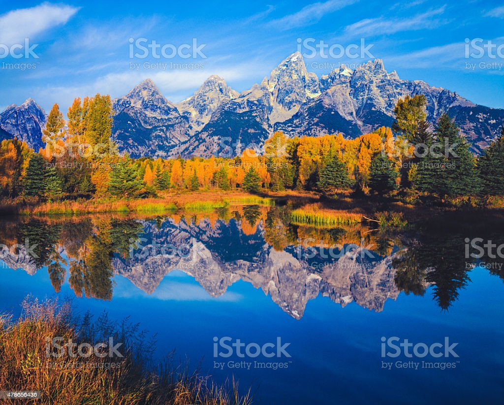 Autumn in the Snake River valley Grand Teton National Park stock photo