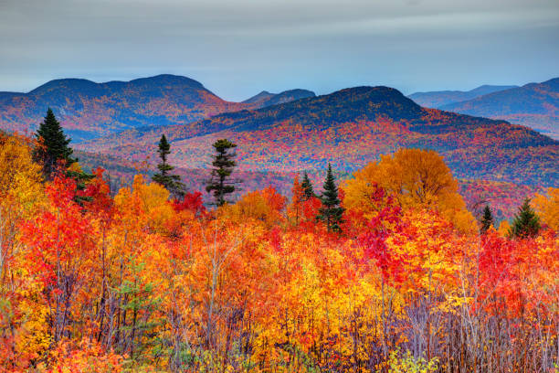 Autumn in the White Mountains of New Hampshire The White Mountains are a mountain range covering about a quarter of the state of New Hampshire and a small portion of western Maine in the United States white mountain national forest stock pictures, royalty-free photos & images