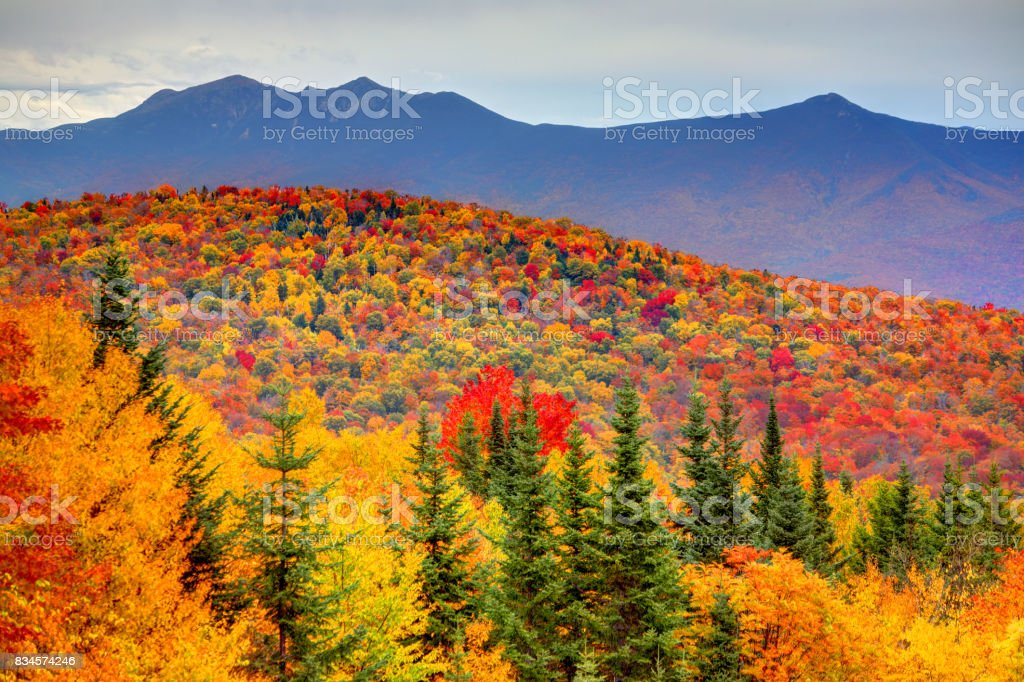 Autumn in the White Mountains of New Hampshire stock photo
