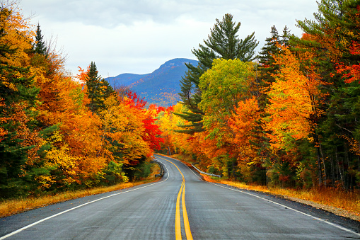 Autumn road in the White Mountains of New Hampshire in autumn.