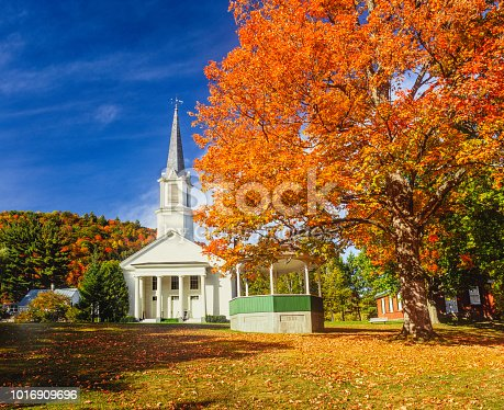 Country church; charming building; dynamic New England  scene, brilliant fall color; charming country side scene