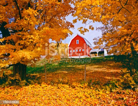 Autumn country side with rustic barn in the Green Mountains, Vermont