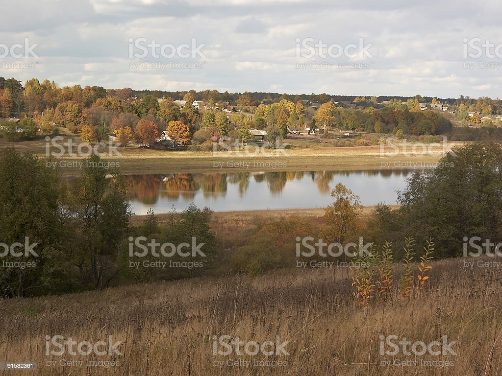 Autumn in village royalty-free stock photo