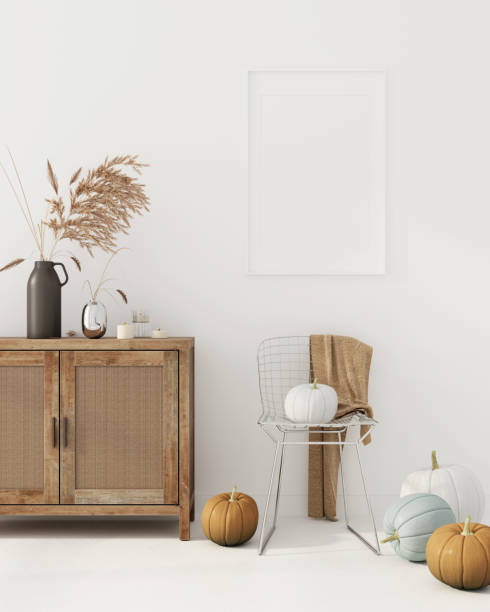 Autumn interior decoration with chest of drawer and metal chair