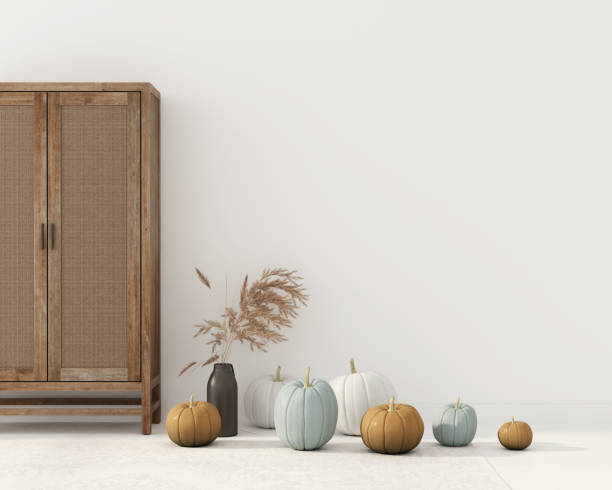 Autumn interior decoration with cupboard
