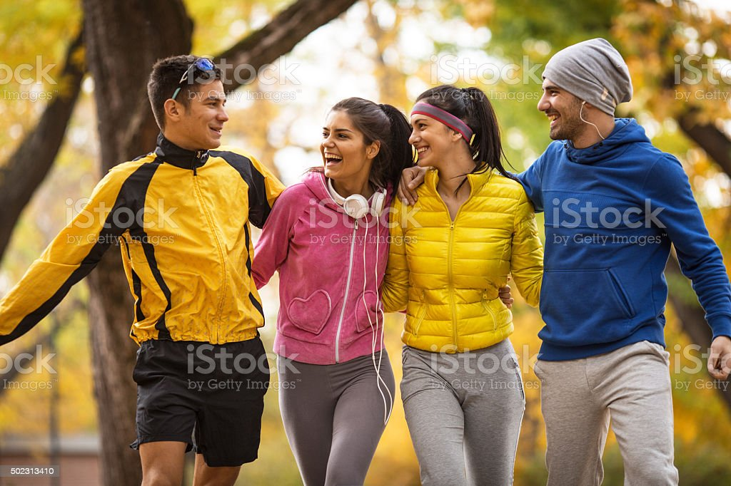 Autumn jogging stock photo