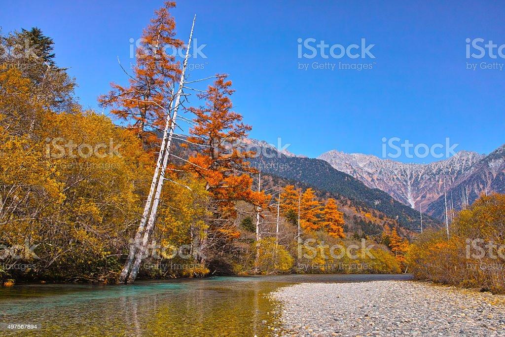 Autumn Kamikochi  Mt.Yakedake and Taishoike stock photo