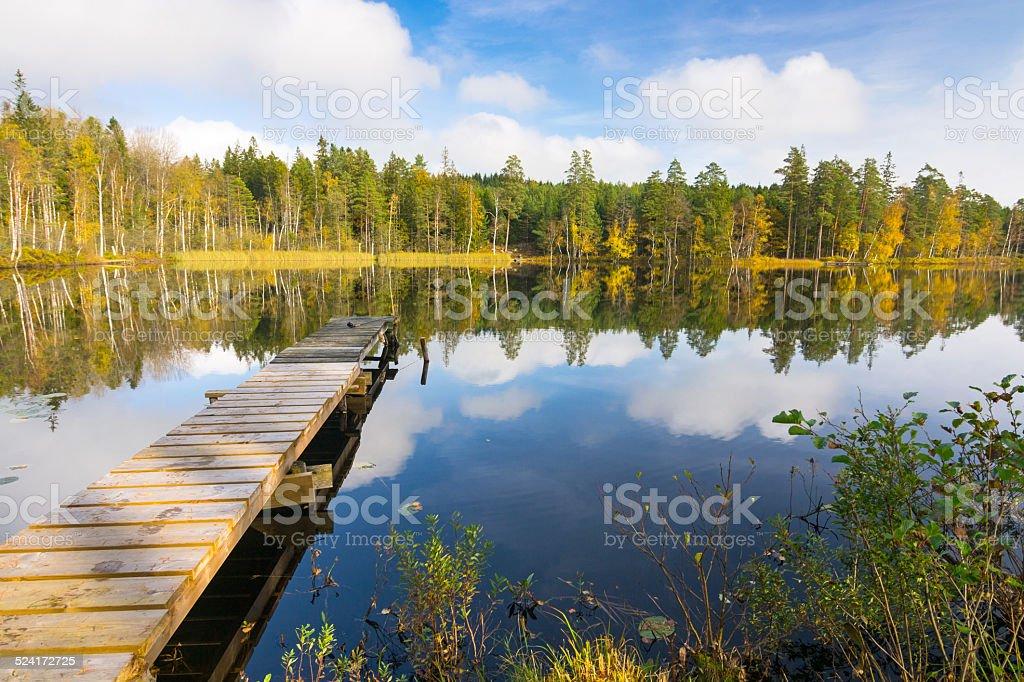 Autumn lake and wooden bridge stock photo