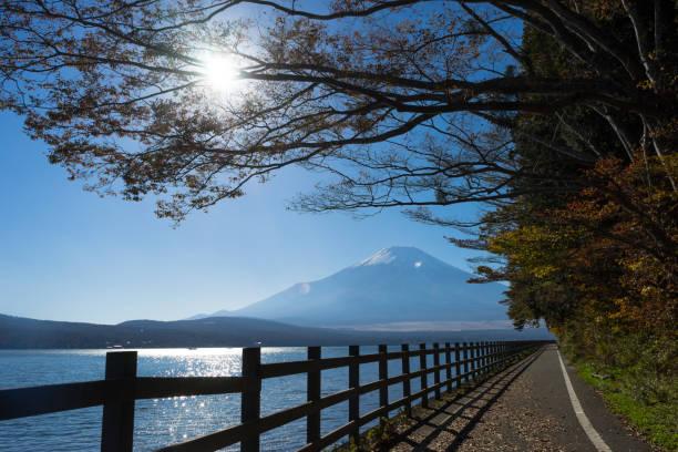 秋の山中湖サイクリングロード - yamanaka lake ストックフォトと画像