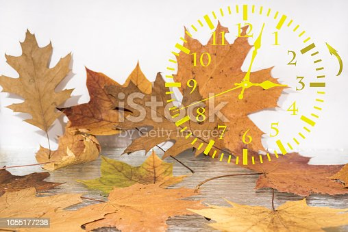 istock Autumn landscape abstraction. Fall back time. Daylight saving time 1055177238