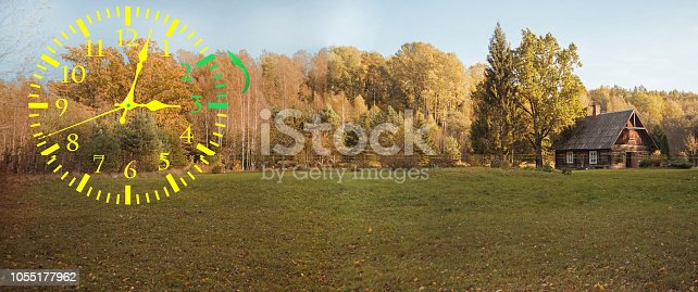 607492948 istock photo Autumn landscape abstraction. Fall back time. Daylight saving time 1055177962