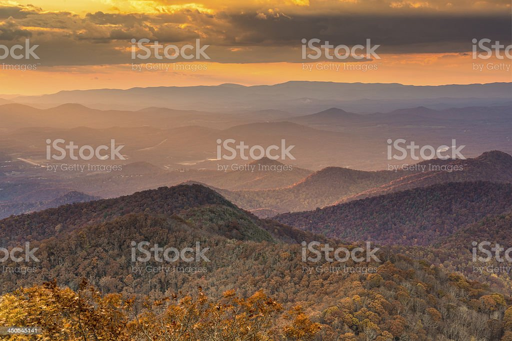 Autumn landscape among the Blue Ridge Mountains stock photo