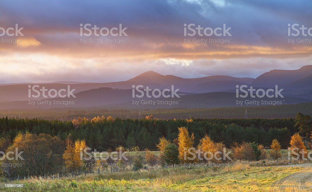 Autumn Landscape at Sunrise stock photo