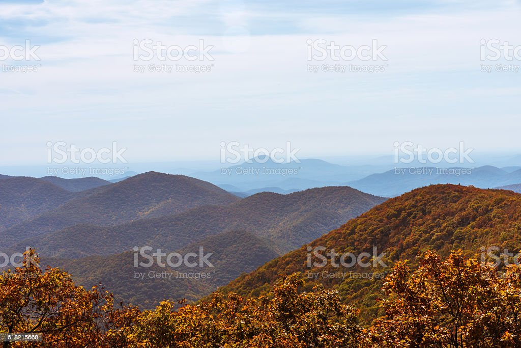 Autumn Landscape Blue Ridge Mountains stock photo