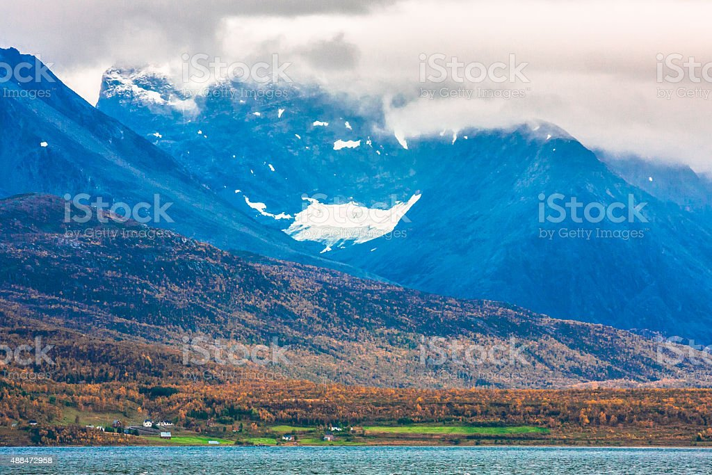 Autumn Landscape in Lyngen stock photo