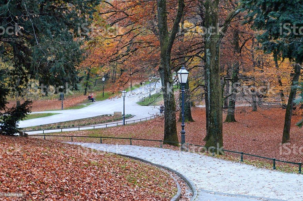 Autumn landscape in Maksimir park, Zagreb, Croatia stock photo