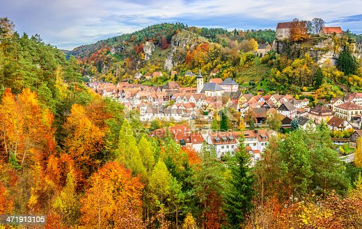 Elevated view on the beautiful Franconian town and autumn landscape of Pottenstein, located in the district Bayreuth, Upper Franconia/Bavaria.
