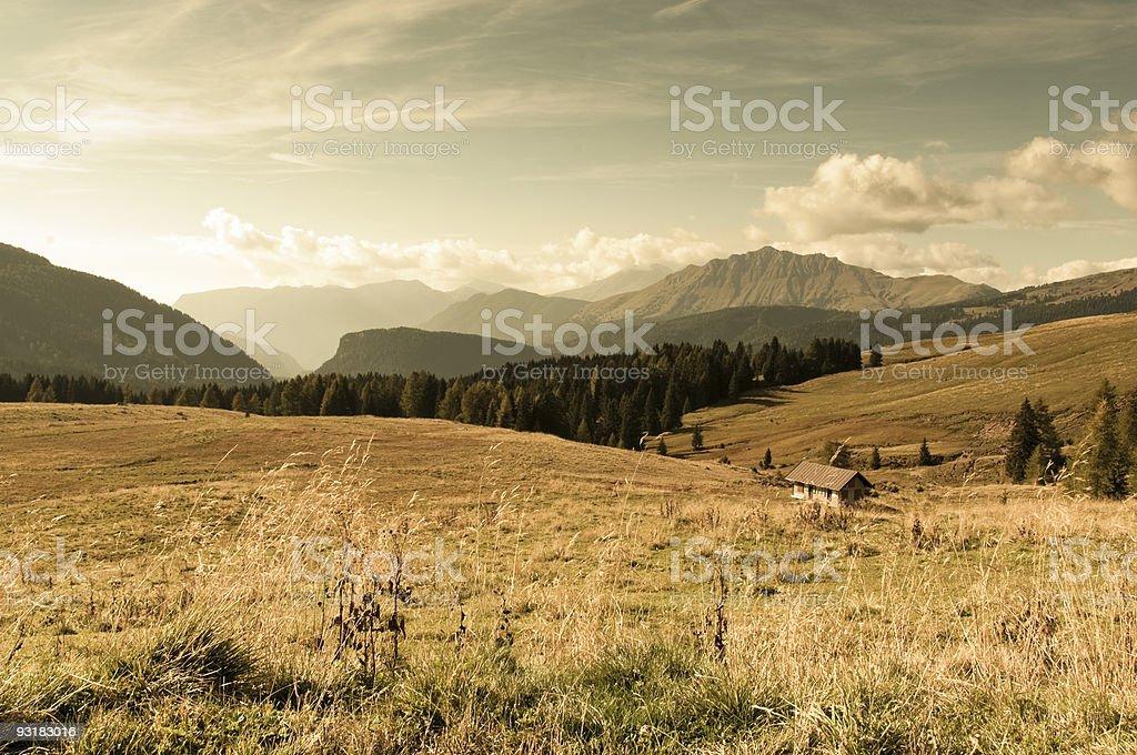Autumn landscape in the Alps stock photo