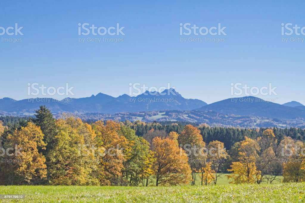 Autumn landscape in the district of Miesbach stock photo
