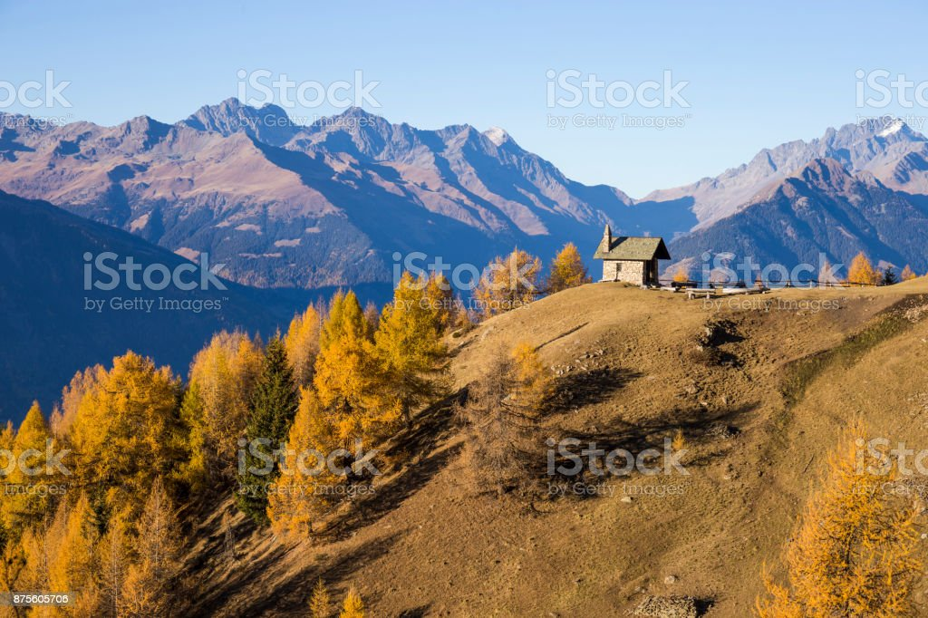 Autumn landscape in Valtellina in Italy. stock photo