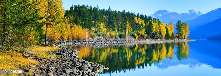 Autumn landscape reflections over the Moose Lake, Canada