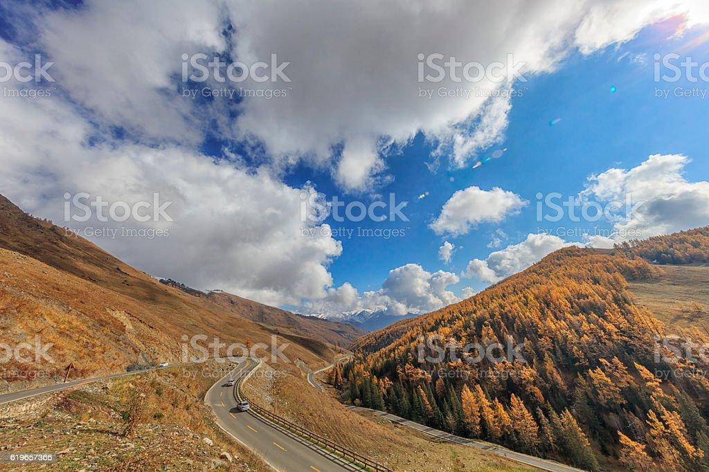 Autumn Landscape near Kanas Lake, Xinjiang, China stock photo