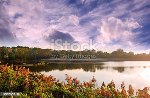 Chesapeake Bay lake in early Autumn during sunset