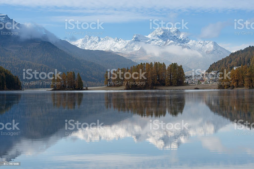 Autumn landscape of a lake in the Swiss Alps stock photo