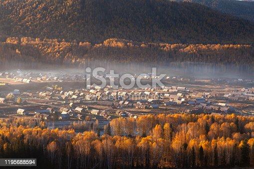 Birch forest, leaves, village, mountains, autumn