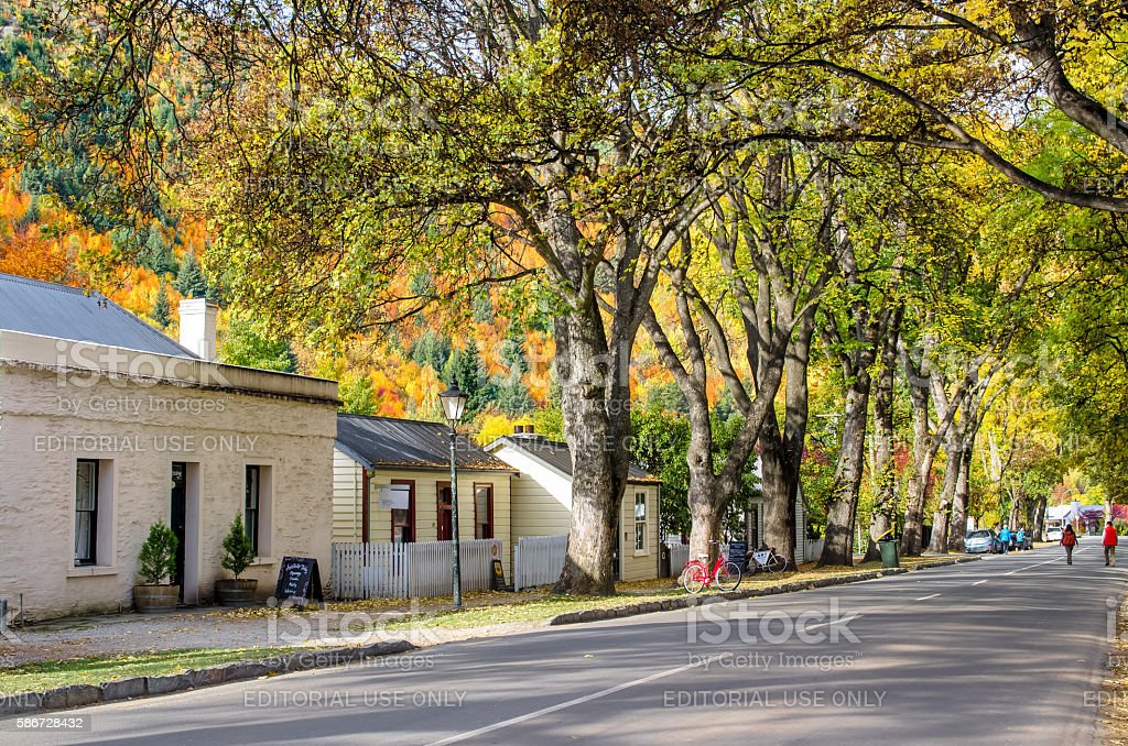 Autumn landscape of historic town in Arrowtown, New Zealand stock photo