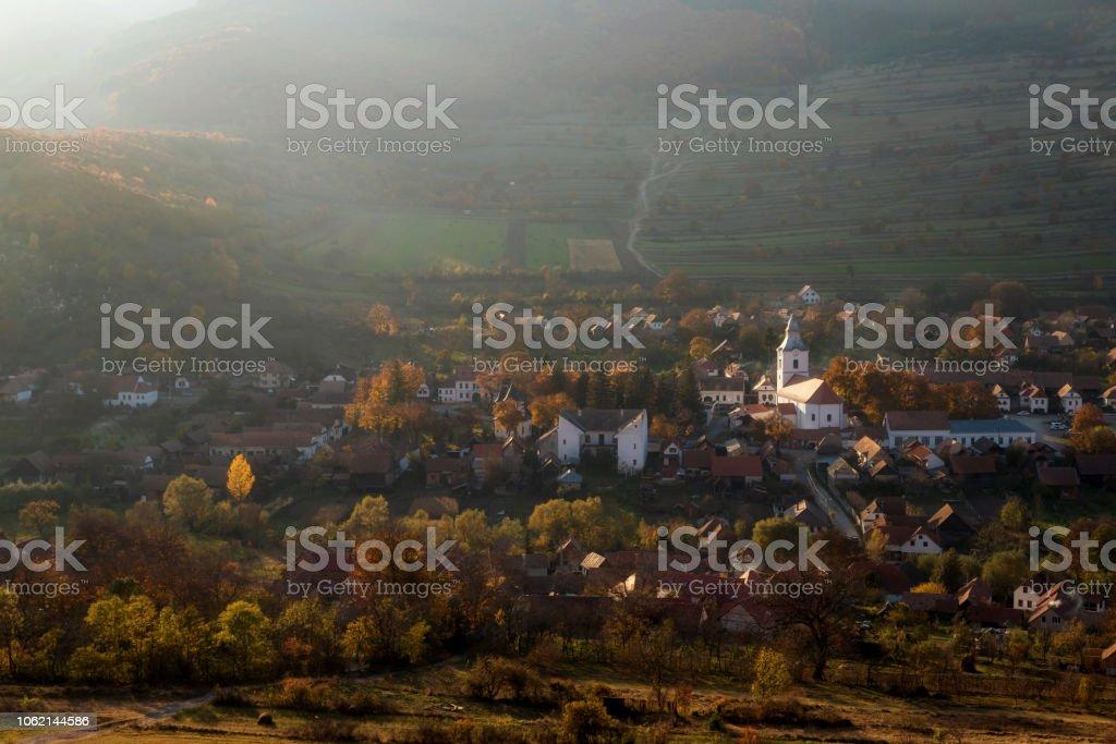 Autumn landscape of Rimetea village stock photo
